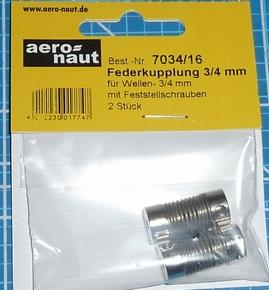 Aandrijf koppeling met veer-as 3/4mm VE2 stuks  7034/16