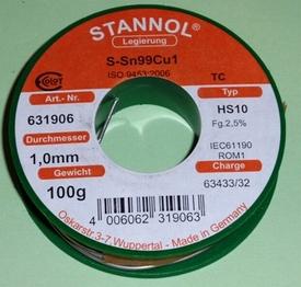 Tin met harskern 1mm L=1Meter  Sn99Cu1 7 gram nr. 34102-1  Envelop