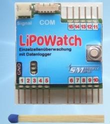 LiPoWatch mit USB-Interface Kabel  SM-Modellbau nr. 2600  Envelop