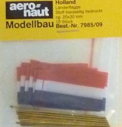 Aeronaut Vlag Stof Holland 20x30mm 10 stuks Nr. 7985-09