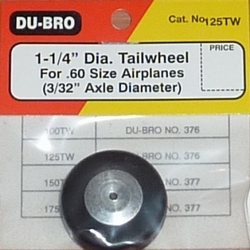 """DUBRO 125TW Tail Wheel with Aluminum Hub 1-1/4"""" (32mm)"""