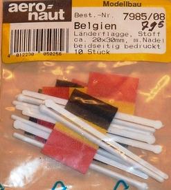 Aeronaut Vlag Stof BELGIE 20x30mm 10 stuks Nr. 7985-08  Envelop