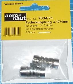 Aandrijf koppeling met veer-as 3,17/4mm VE2 stuks  7034/21