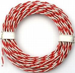 PVC massieve draad 2 aderig 0,5mm2  Rood/Wit  5 meter 50520  Envelop
