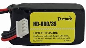 D-Power HD-800 3S Lipo (11,1V) 30C XH bal + BEC stekker