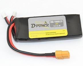 D-Power HD-1600 2S Lipo (7,4V) 30C - mit XT60 Stecker