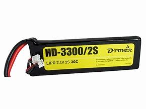 D-Power HD-3300 2S Lipo (7,4V) 30C - mit XT60 Stecker  Pakket