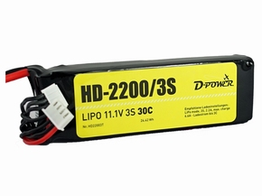 D-Power Lipo 3-2200mAh  3S 30C XH+EH bal + T-Dean stekker  Pakket