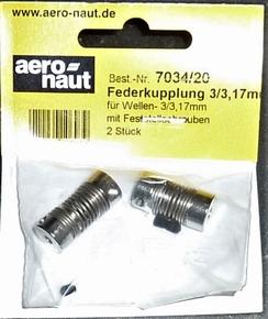 Aandrijf koppeling met veer-as 3,17/3mm VE2 stuks  7034/20
