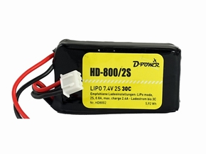 D-Power HD8002 800mA 2S Lipo (7,4V) 30C - mit BEC Stecker  Pakket