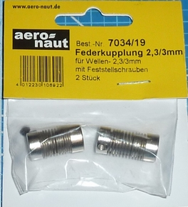 Aandrijf koppeling met veer-as 2,3/3mm VE2 stuks  7034/19
