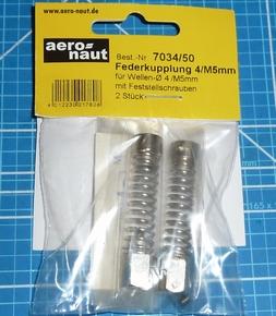 Aandrijf koppeling met veer-as 4mm/M5 VE2 stuks  7034/50