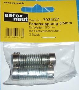 Aandrijf koppeling met veer-as 5/5mm VE2 stuks  7034/27