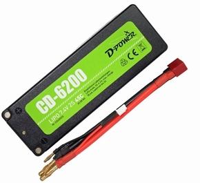 D-Power CD-6200/2S Lipo 7.4V 2S 45C mit T-Stecker