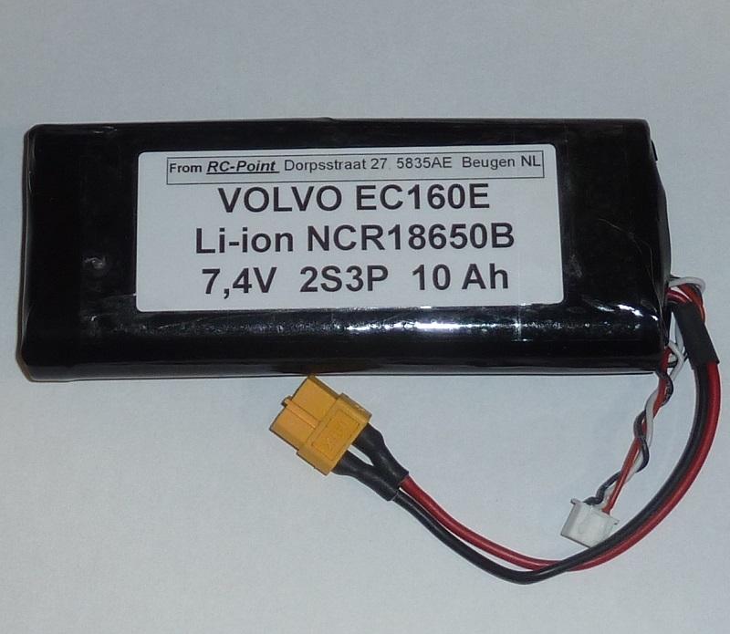 Accu 7,4V Li-Ion 10000mAh XT60 Volvo EC160E