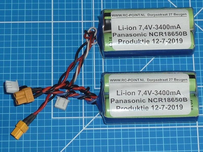 Accu 7,4V Li-Ion 3400mAh XT30  Huina 1580 and 1583