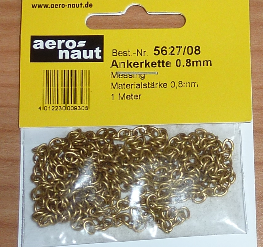 Aeronaut 5627/08 ankerketting messing kleurig 4,5mm 1meter
