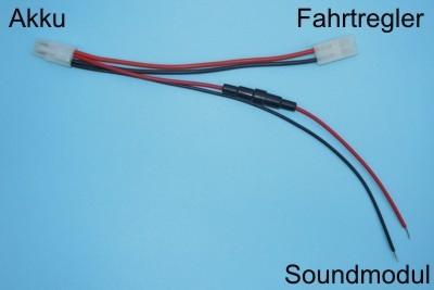 Beier Accu Y-kabel TAMIYA Beier soundmodul USM-RC 26cm