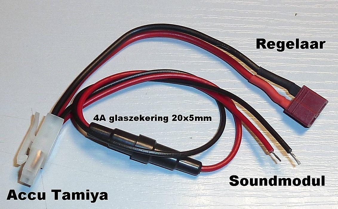 Beier Accu Y-kabel Tamiya-DEANS Beier soundmodul USM-RC 26cm