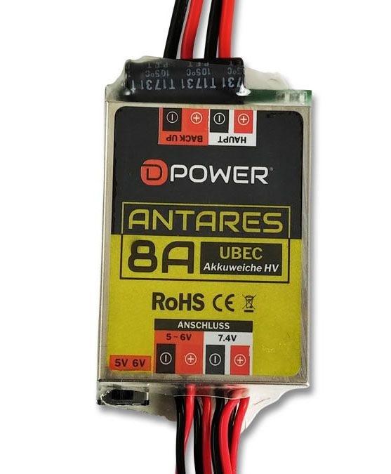D-Power 9205 Antares UBEC HV 8A Akkuweiche uit 5-6 +7,4V