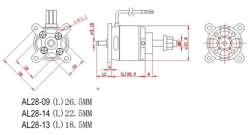 D-Power AL2809 Brushless Motor 980KV 2-4S