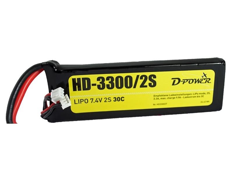 D-Power HD-3300 2S Lipo (7,4V) 30C - mit XT60 Stecker