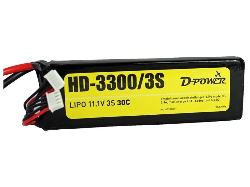 D-Power HD-3300 3S Lipo (11,1V) 30C - mit DEAN T Stecker