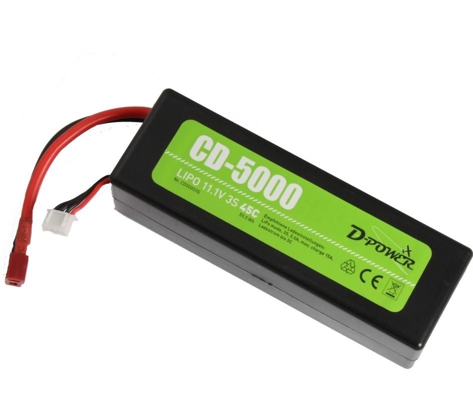 D-Power Lipo 3-5000mAh  3S 30C XH bal + dean stekker