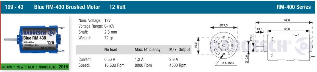 Raboesch 109-43  Bow Thruster Motor Bleu RM 430 -12V