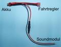 Beier Accu Y-kabel DEANS Beier soundmodul USM-RC 26cm Envelop