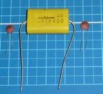 Ontstoorset condensators grote motoren1x 470 nF 2x100nF